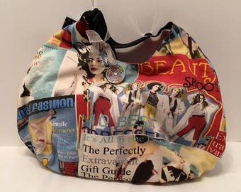 AG6- Great Big Bag: ode to the 80's print hobo purse with magnet closure and inside pocket.