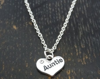 Auntie Necklace, Auntie Charm, Auntie Pendant, Auntie Jewelry, Aunt Necklace, Aunt Jewelry, Aunt Gifts, Gifts for Aunts, Best Auntie Ever