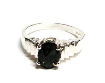 """Black topaz , black topaz ring, black, black jewelry, november birthstone,  - s6    """"Ridges"""""""