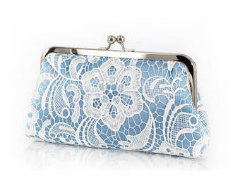 Baby Blue Something Blue Floral Lace Clutch L'HERITAGE | Personalized Gift, Bridesmaid Gift, Photo Clutch