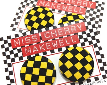 Yellow & Black Ska Checkerboard Rockabilly Punk 50's Pin Up Vintage Inspired Stud or Clip On Fabric Button Earrings By Miss Cherry Makewell
