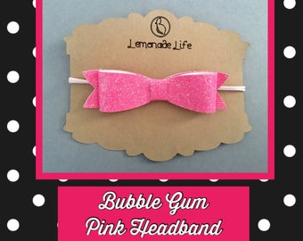 Bubble gum pink bow headband