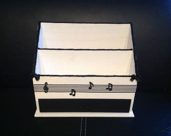 Tidy up mail, wooden, for office, Music, black and white, sorter, organizer of office, carries mail
