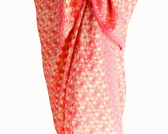 Beach Sarong Chiffon Sarong Coverup Women's Swimwear Batik Sarong Pareo Wrap Skirt Elegant Coral & Cream Beach Wrap Skirt or Chiffon Scarf