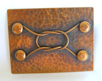 1940s Pedro Pujol Modernist Brooch Rare Vintage Copper Studio Jewelry in the Style of Rebajes
