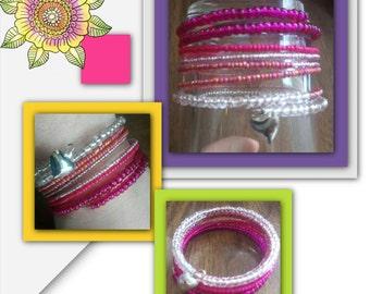 Pink beaded heart spring bracelet