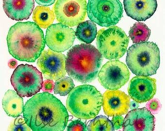 Large Canvas Abstract Print - Green Circles -  Blooms 5 Green - Ltd Edition