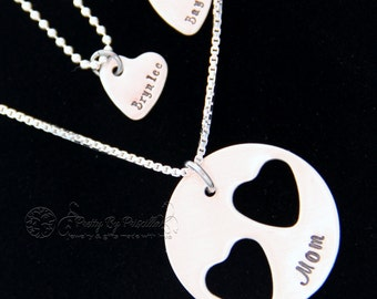 Personalized Gift - Mother Daughter Jewelry STERLING SILVER Heart Cut Out Necklace Set- Mother Daughter Necklaces-Gift for Her