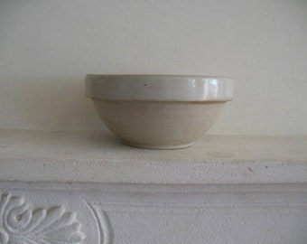 Perfect, antique French rustic Digoin Crespots stoneware bowl, ivory  - 59 euro