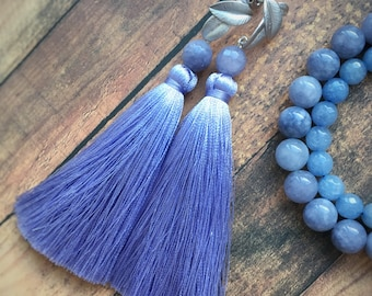 Blue tassel earrings Blue chandelier earrings Thread earrings Long earrings Long tassel earrings Leaf earrings Jadeite earrings Silver