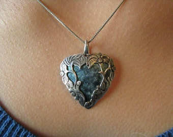 Vintage Sterling Silver Fairy Heart Necklace Silver Heart and Chain Valentine Jewelry Valentines Day Bridal Jewelry
