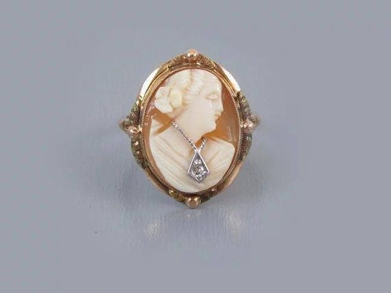 Vintage Art Deco 10k multicolor gold cameo En Habille diamond ring signed BDA Budlong Docherty and Armstrong size 6