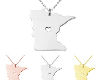 Stainless Steel State Map Pendant Necklace, Love  Minnesota, Jewelry Supply, 3 Colors Available,MN