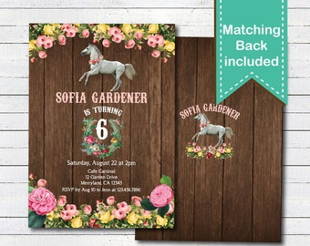 Horseback riding party invitation. Equestrian girl birthday. Any age. Shabby chic floral wood 5th 6th 7th 8th 9th 10th birthday invite KB187
