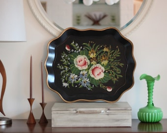 Large Vintage Floral on Black Tole Metal Tray  / Large Rose Tole Tray / Floral Tole Tray / Black Tole Tray / Modern Victorian / Floral Tray
