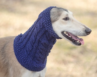 Dark blue dog snood // ready to ship // for male saluki, afghan hound or similar // hand-knit 100% wool dog snood // sighthound snood