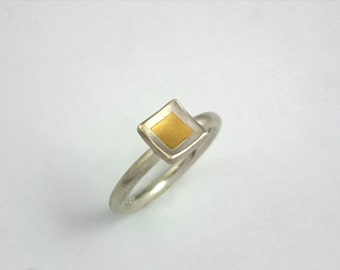 Minimal simple square ring with 22K gold fused on sterling silver, Silver and gold ring, Geometric ring, Handcrafted ring, Gift for her.