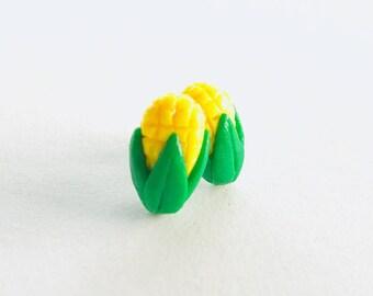 Corn Earring Studs, Polymer Clay, Premo, Tiny Food, Kawaii Shop, Handmade Gifts