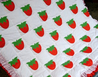 "Vintage Strawberry Applique Quilt - Baby Lap Blanket - 40"" x 40"""