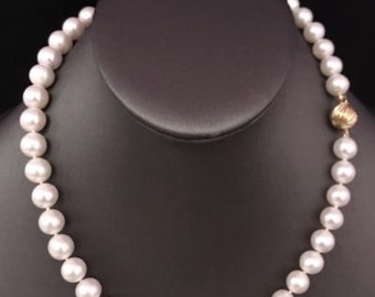 FreshWater Pearls Large 9.5-9 mm 17 In Necklace 14Kt Solid Gold Clasp F5