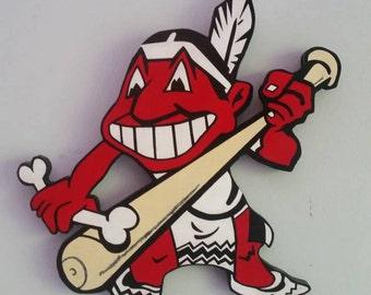 Cleveland Indians retro chief wahoo handmade wood sign
