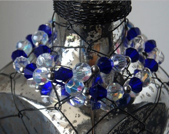 Double Strand Beaded Bracelet- Blue and Crystal