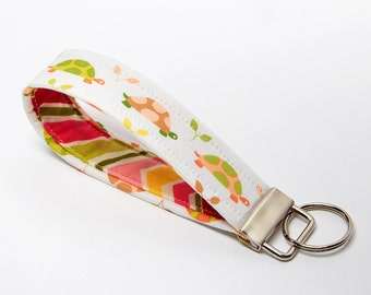 Key Wristlet, Turtle Key Fob, Handmade Keychain - Pink and Green Pastel Turtles