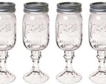 Set of 4 Mason Jar Wine Glasses, DIY Wine glasses