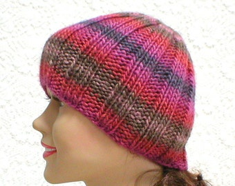 Beanie hat, pink brown purple red hat, striped hat, skull cap, knit hat, toque, ribbed hat, mens womens hat, chemo cap, skateboard, hiking