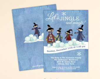 Christmas Party Invitation, Holiday Party, Jingle & Mingle Party, Cocktail Party, Holiday Birthday Party, Christmas Invite, C1513