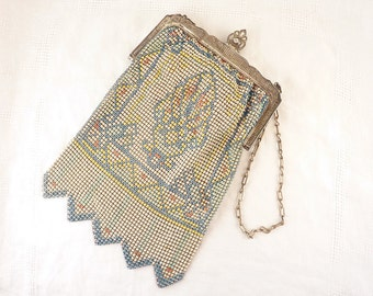 Vintage Whiting and Davis Blue and Yellow Pattern Art Deco Enameled Mesh Purse Bag with Pink Silk Lining and Pocket
