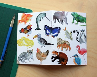 Animal Illustrated Notebook, A6, 48 pages