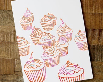 Just Because Card - cupcake card, all occasion card, watercolor art card, cute blank card, foodie card, watercolor cupcakes, birthday card