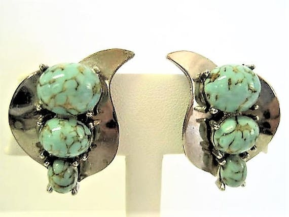 Turquoise Faux Earrings, Silver Setting,  Lucite Stones, Vintage Clip Ons
