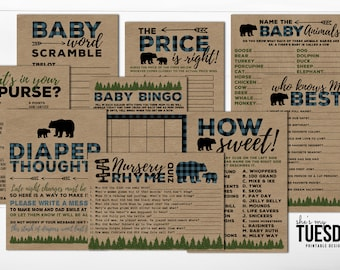 Bear Baby Shower Games - Buffalo Plaid Baby Shower Games - Lumberjack Baby Shower Games - Rustic Baby Shower Games - Blue Plaid - Printable