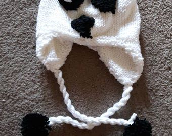 Hand Knit Panda Hat (adult size)