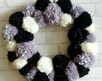 pompom wreath,love, fluffy, circle,wall hanging, wall plaque, pompom children bedroom,black,wall tapestry,wall hanging,home decor