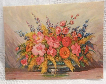 ROSE ZINNIA & LILAC Spring Bouquet Litho Print Still Life to Frame, Pink Yellow Orange Purple Blooms Wiegand Orig 1920s Flower Art 8 x 6