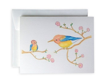 Mother and Baby Bird Greeting Card or Notecard Set