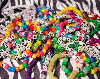 Kandi Bracelet *RANDOM* Sets // *All with Words* // Rave Kandi // EDC // Festival // 15-40+ Bracelets Per Set
