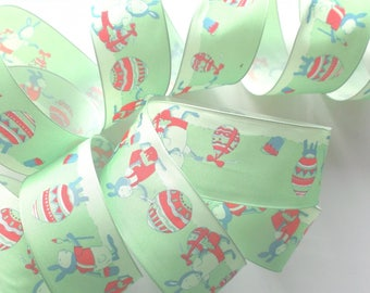 Ribbon taffeta 4 meters - rabbits and Easter egg pattern # 1430