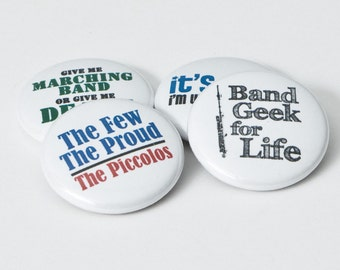 Piccolo Band Geek plus three Marching Band buttons or magnets - size one inch - PICC 1
