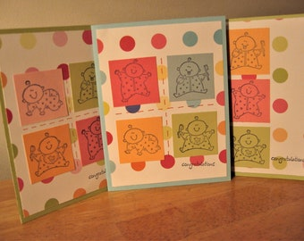 Colorful Dotted Baby Card Set
