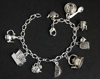 Tea Bracelet. Tea Time Charm Bracelet. Tea Lover Bracelet. Teapot Bracelet. Food Bracelet. Silver Bracelet. Food Jewelry.