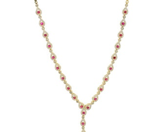 Ladies Estate 18K Yellow Gold Red Ruby & White Sapphire Gemstone Y-Shaped Necklace