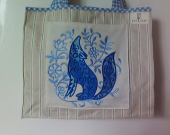 Tote bag with Howling Wolf Patch Pocket