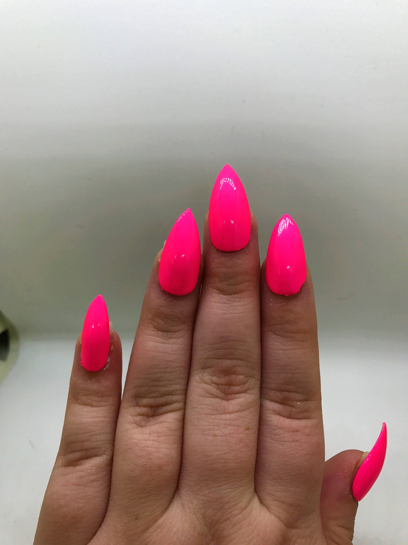 Hot Pink Fake Nails | Neon Pink Nails | Press On | Glue On Nails ...