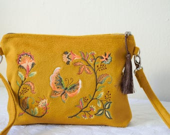 Embroidered Crossbody Bag,Yellow Cashmere Crossbody Bag,Embroidered Bag,Yellow Crossbodybag,Cashmere Crossbody,Yellow Wool Crossbody Bag