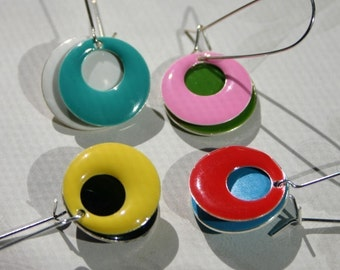 SALE Colorful Hoop Earrings Epoxy Enamel Disc Loop Choose Two Colors Rainbow Dangle Drop Mix & Match Customizable Sterling Silver Elongated