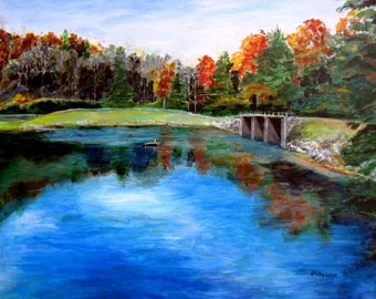 Mountain lake scene, Vogel State Park, Georgia, Lake Trahlyta, original painting, 20x24, by Shirley Lowe
